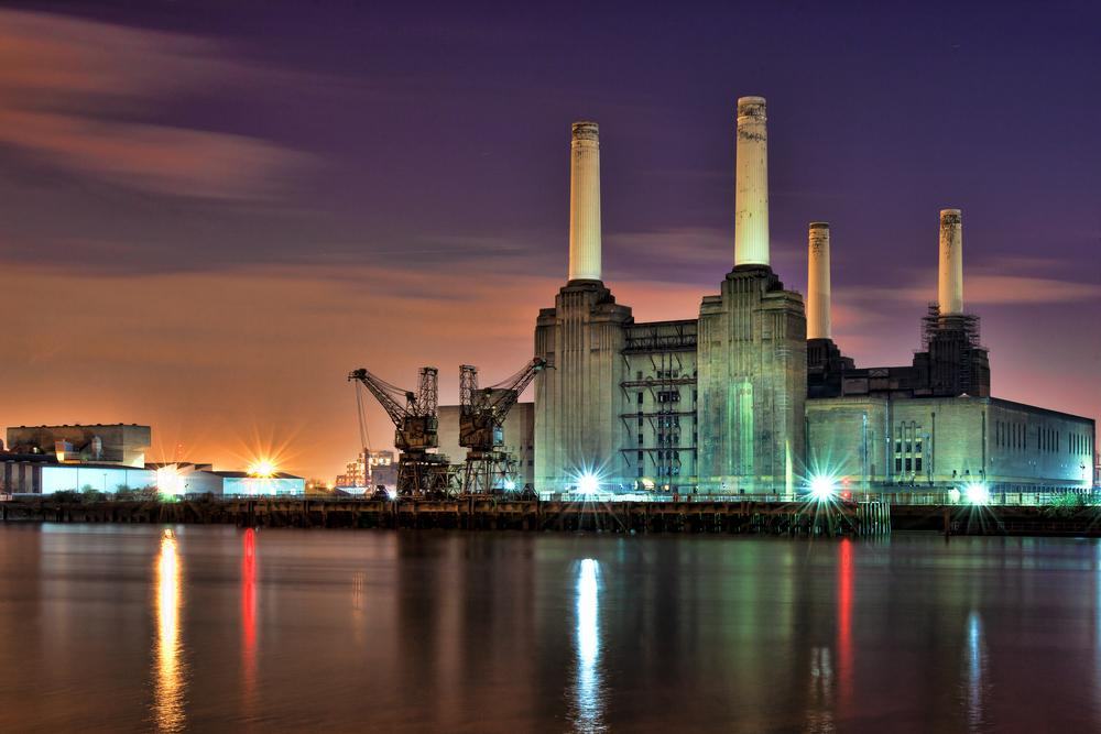 A river view of Battersea Power Station, South-West London